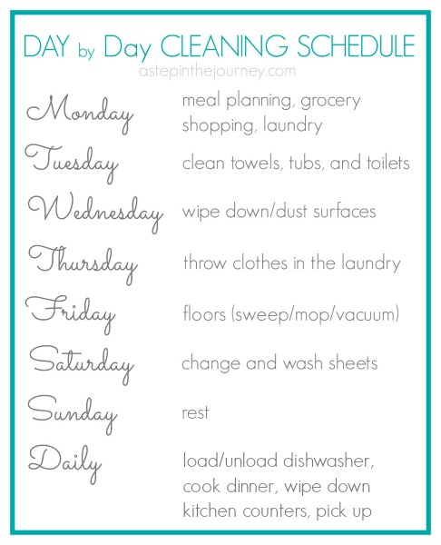 Day by Day Cleaning Schedule & Free Printable #SparklySavings